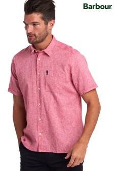 Barbour® Red Linen Mix Short Sleeve Summer Shirt