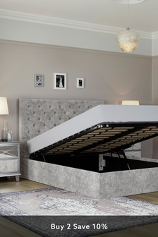 Sumptuous Velour Silver Paris Ottoman Storage Bed