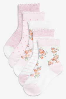 Pink Floral Socks Five Pack (Younger)