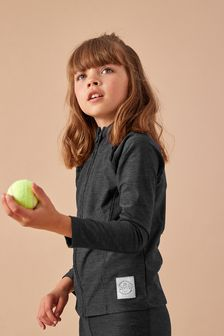 Black Sports Zip Through Top (3-16yrs)