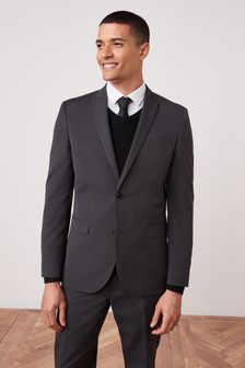 Charcoal Slim Fit Two Button Suit: Jacket