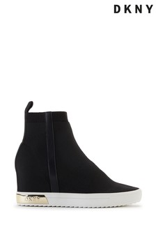 DKNY Black Hidden Wedge Cali Trainers