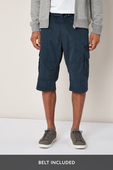 Navy Belted Longer Cargo Shorts