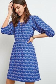 Blue Lace-Up Mini Dress