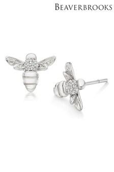 Beaverbrooks Silver Cubic Zirconia Bee Stud Earrings