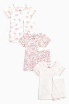 Pink Ecru Floral Short Pyjamas Three Pack (9mths-8yrs) 8a6bae073