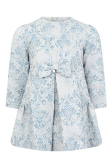 Girls Blue Jacquard Dress