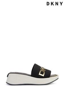 DKNY Black Mandy Contrast Logo Sport Sandals