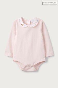The White Company Pink Embroidered Collar Bodysuit