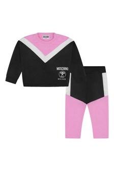 Baby Girls Black & Pink Logo Tracksuit