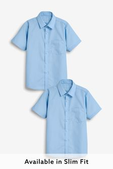 Blue 2 Pack Short Sleeve Shirts (3-17yrs)