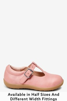 Pink Leather Wide Fit (G) Little Luxe™ T-Bar Shoes (Younger)