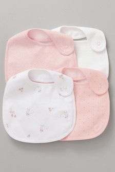 Pink/White 4 Pack Bibs
