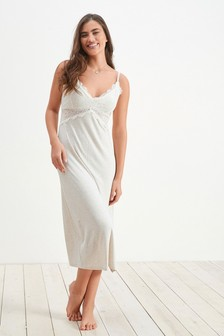 Oatmeal Viscose Lace Slip