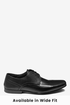 Black Regular Fit Leather Panel Lace-Up Shoes