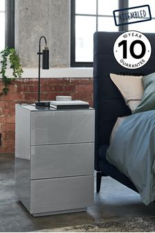 Grey Sloane 3 Drawer Bedside Table
