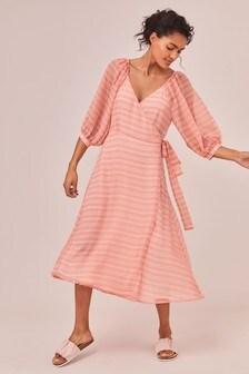Pink Check Wrap Detail Midi Dress