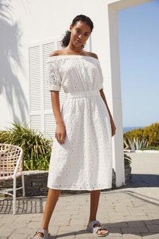 White Broderie Off Shoulder Dress