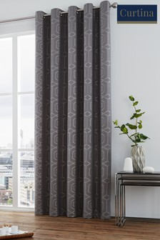 Curtina Grey Camberwell Geo Lined Eyelet Curtains