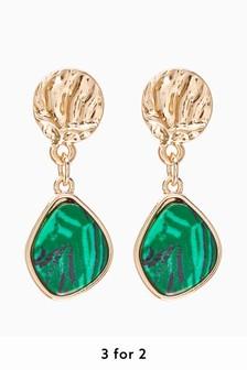 Gold Tone/Green Textured Drop Earrings