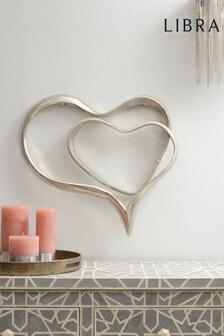 Libra Silver Abstract Heart Wall Sculpture