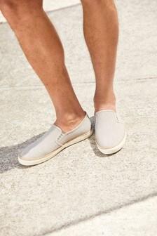 Grey Canvas Jute Slip-Ons