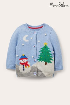 Boden Blue Christmas Scene Cardigan
