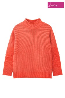 Joules Orange Kalia Knitted Bubble Stitch Jumper