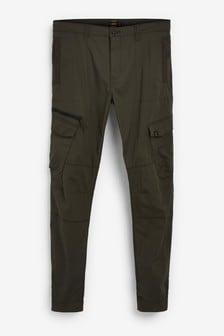 Khaki Slim Fit Elasticated Tech Cargo Trousers