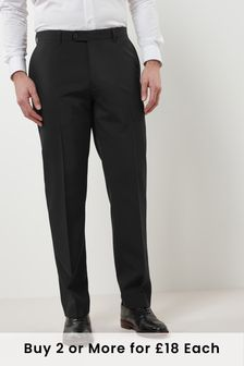 Black Regular Fit Machine Washable Plain Front Trousers