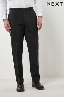 Black Regular Fit Machine Washable Plain Front Trousers
