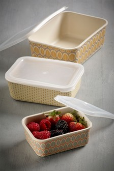 Set of 3 Food Containers Made With Bamboo Fibre