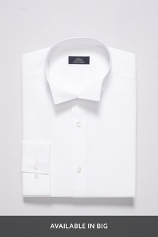 White Slim Fit Single Cuff Wing Collar Shirt