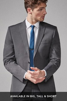 Charcoal Tailored Fit Two Button Suit: Jacket