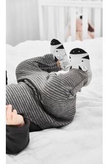 Grey Zebra Slip-On Pram Shoes (0-24mths)