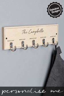 Personalised Five Hook Family Coat Hook by Oakdene Designs