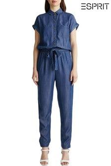 Esprit Blue Elegant Belted Denim Jumpsuit