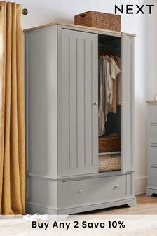 Grey Hampton Double Wardrobe