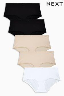 Black/White/Nude Midi Microfibre Knickers Five Pack