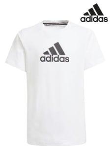 adidas White Badge Of Sport Logo T-Shirt
