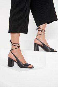 Black Signature Leather Wrap Block Sandals