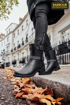 Barbour® International Black Leona Short Wellington Boots