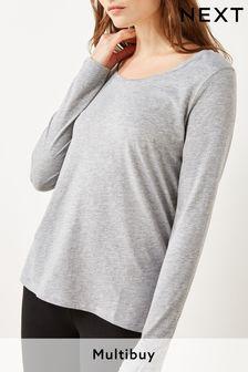 Grey Marl Long Sleeve Top