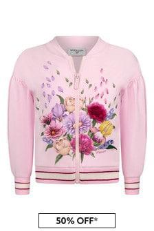 Monnalisa Girls Pink Cotton Zip Up Cardigan