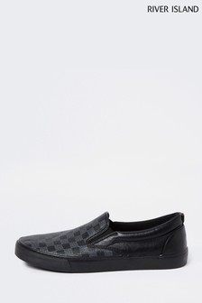 River Island Black 7522 Monogram Slip On Shoes
