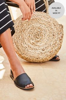 Black Leather Beach Sandals