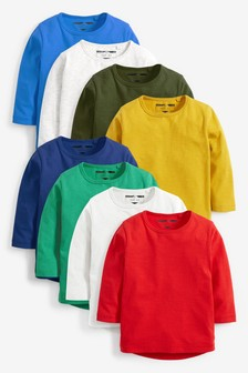 Multicoloured Long Sleeve Essential T-Shirts Eight Pack (3mths-7yrs)