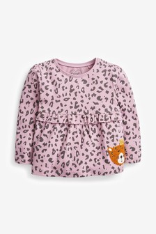 Purple Leopard Frill Empire T-Shirt (3mths-7yrs)