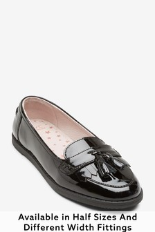 Black Wide Fit (G) Leather Tassel Loafers