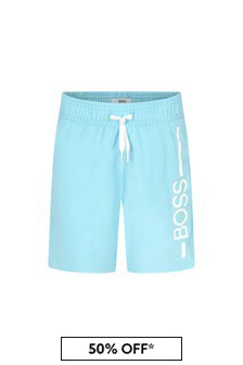 BOSS Boys Blue Swim Shorts